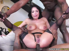 Double penetration cuckold porn with a busty pornstar