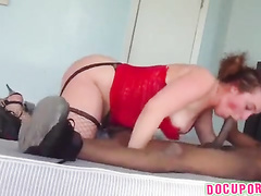 Fishnets wearing housewife in a spycam cuckold video