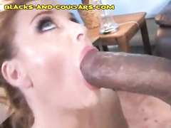 Very big black cock destroys sexy white wife of his boss