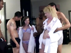 Sweaty blond-haired mommy gets spit-roasted by BBCs