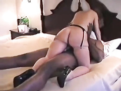 Blonde mommy bred by a throbbing BBC on a bed