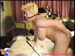 Mature blonde with saggy breasts rides a BBC