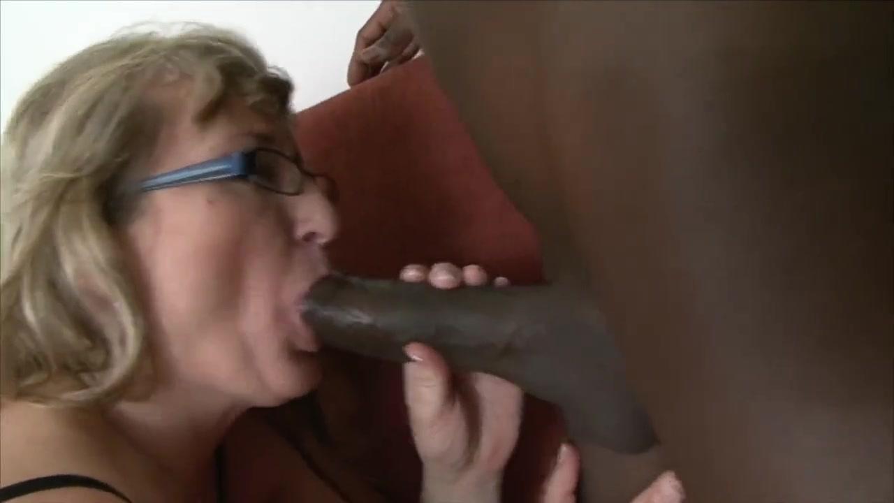 Blonde mom in glasses sucks and fucks bbc