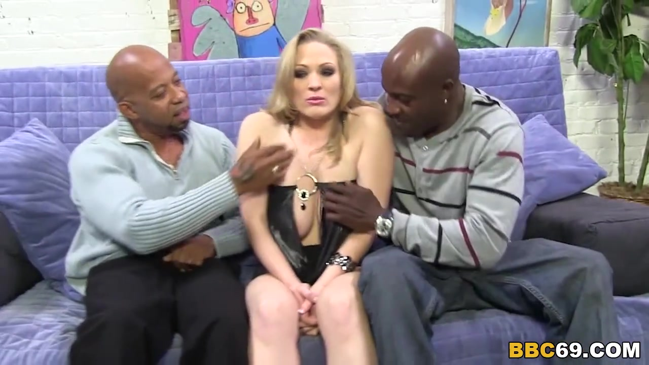 Blonde wife BBC anal dp with gang of blacks