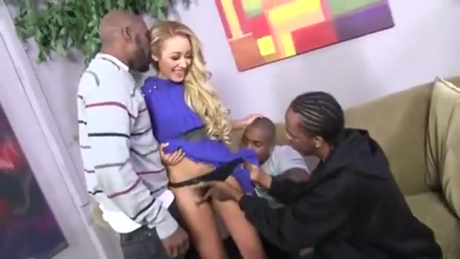 Blonde Latina interracial dp gangbang with bbc's