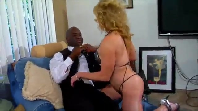 Blonde mature wife and mom rides big black dick