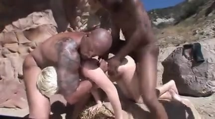 White shorthaired blonde gets bbc gangbang